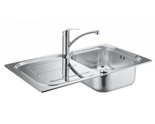 Набор: Мойка Grohe K300 из нержавеющей стали и смеситель Grohe Eurosmart 33281002 для кухонной мойки