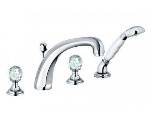 Смеситель Kludi Adlon 5152405G5 для ванны и душа, на 4 отверстия, ручки хрусталь, цвет хром