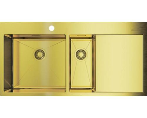 Мойка кухонная Omoikiri Akisame 100-2-LG-L 4973089 светлое золото