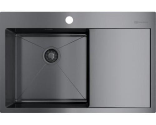 Мойка кухонная Omoikiri Akisame 78-GM-L нержавеющая сталь/вороненая сталь 4973099