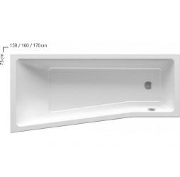 Акриловая ванна Ravak Be Happy II, 150х75, левая белая